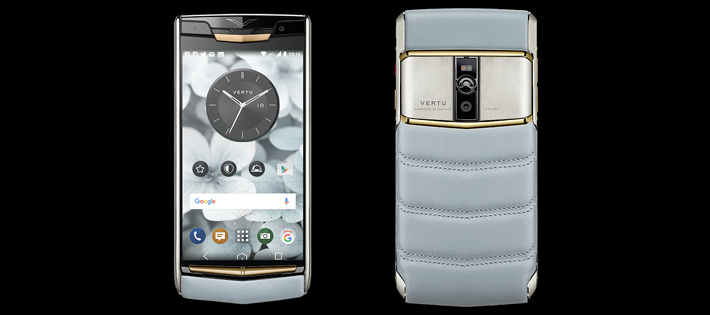 Vertu New Signature Touch/Sky Blue calf leather