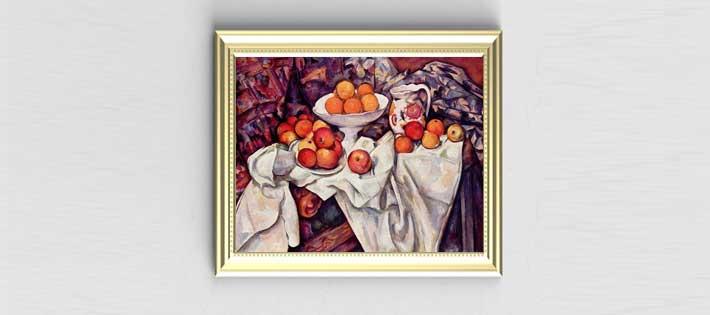 リンゴとオレンジのある静物